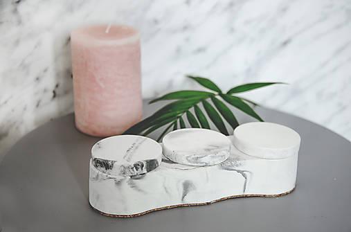 Betónový úložný mini box Locus Marble (Čierno-biela)