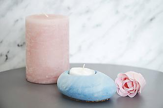Svietidlá a sviečky - Betónový svietnik Lucern Marble (Modrá) - 10587023_