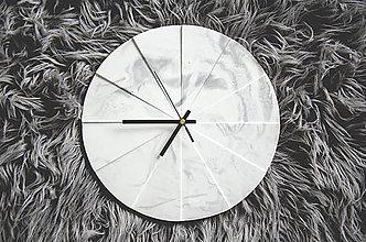 Hodiny - Betónové hodiny Tempus Marble (Čierno-biela) - 10587437_