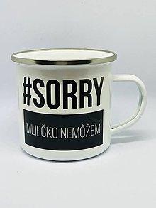 Nádoby - Smaltovaný hrnček #sorry mliečko nemôžem - 10586729_