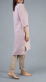 Šaty - Dámske ľanové šaty / tunika Inga, ružové - 10588794_