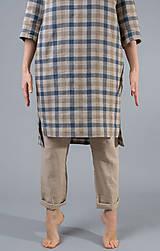 Šaty - Dámske ľanové šaty / tunika Inga, kocka - 10588840_