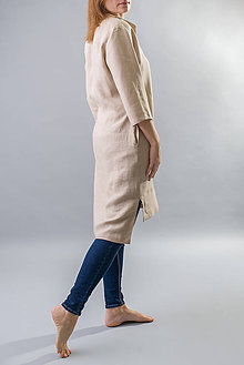 Šaty - Dámske ľanové šaty / tunika Inga, bežové - 10588896_