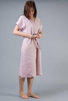 Šaty - Dámske ľanové šaty Mia, ružové - 10589173_