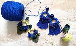 Náušnice - Modré strapcove nausnicky - 10588128_