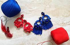 Náušnice - Modré strapcove nausnicky - 10588129_