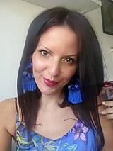 Náušnice - Modré strapcove nausnicky - 10588130_
