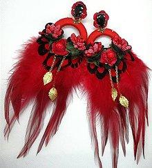 Náušnice - Červené pierkove nausnice - 10588073_