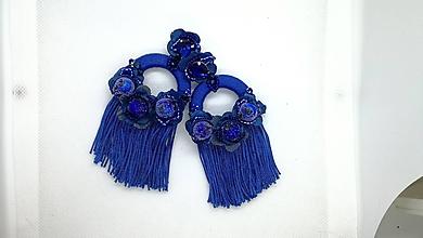 Náušnice - Modré strapcove nausnicky - 10588126_
