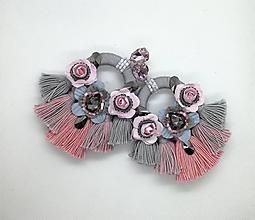 Náušnice - Ružovo šedé strapcove nausnicky - 10588138_