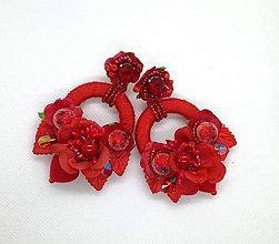 Náušnice - Červené hoop nausnicky - 10588159_