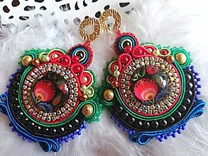 Náušnice - Esmeralda - šujtášové náušnice - 10589084_