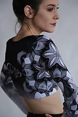 Nohavice - Lines mandalas black- legíny a top s dlhým rukávom - 10588078_
