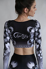 Nohavice - Lines mandalas black- legíny a top s dlhým rukávom - 10588079_