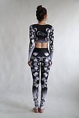 Nohavice - Lines mandalas black- legíny a top s dlhým rukávom - 10588082_