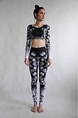 Nohavice - Lines mandalas black- legíny a top s dlhým rukávom - 10588083_