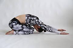 Nohavice - Lines mandalas black- legíny a top s dlhým rukávom - 10588085_
