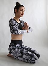 Nohavice - Lines mandalas black- legíny a top s dlhým rukávom - 10588108_
