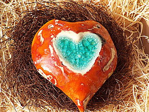 Socha - Srdiečko v hniezdočku (Oranžová) - 10588713_