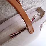 Veľké tašky - Ľanová taška na veľ. A4 / folk 2 (hnedoružová) - 10588582_