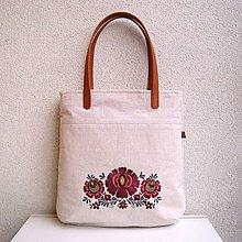 Veľké tašky - Ľanová taška na veľ. A4 / folk 2 (hnedoružová) - 10588587_