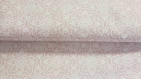 Textil - Staroružová s bielym motívom š.140cm - 10587102_