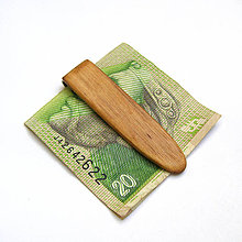 Tašky - Drevená spona na peniaze - orechová - 10588909_