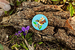 Odznaky/Brošne - Ručně malovaná brož s ptáčkem v tyrkysové - 10591494_
