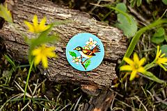 - Ručně malovaná brož s ptáčkem v tyrkysové - 10591496_