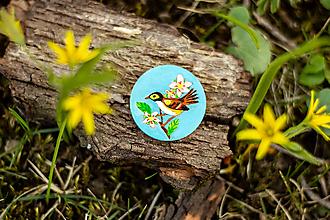 Odznaky/Brošne - Ručně malovaná brož s ptáčkem v tyrkysové - 10591496_
