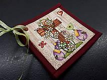 Úžitkový textil - Kuchynský set (Veľkonočné podšálky/červená) - 10590611_