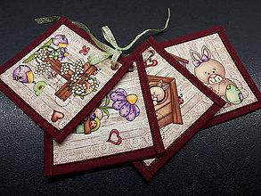Úžitkový textil - Kuchynský set (Veľkonočné podšálky/červená) - 10590610_
