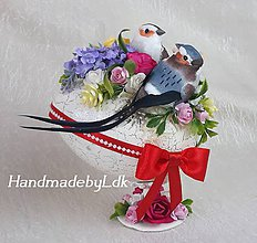 Dekorácie - Vajíčko so stojanom - Vtáčiky v záhrade - 10590178_