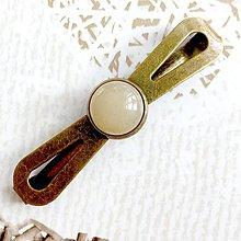 Ozdoby do vlasov - Vintage Elegant Yellow Aventurine Hair Clip / Vintage spona so žltým aventurínom /2063 - 10590437_