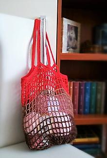 Nákupné tašky - Jednoduchá sieťovka červenohnedá - 10590983_