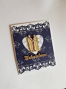 Papiernictvo - svadobná gratulačná pohľadnica folklórna s drevenými výrezmi - 10589998_