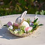 Dekorácie - Jarná dekorácia so zajačikom - 10589538_