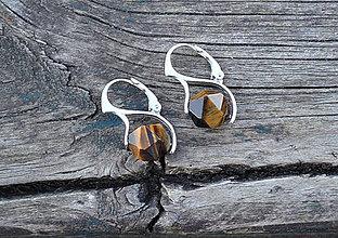 Náušnice - Tigrie oko strieborné rhodiované náušnice - 10590120_