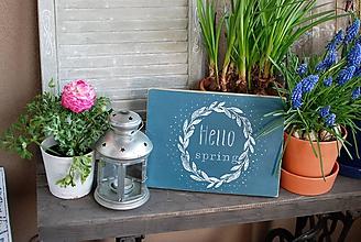 """Tabuľky - Modrá tabuľka """"Hello spring"""" - 10589827_"""