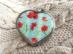 Kľúčenky - Srdiečkové zrkadielko s vlčími makmi na tyrkysovom podklade - 10590403_