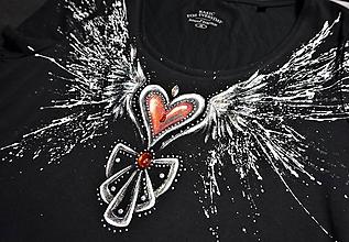 Tričká - anjelske krídla a srdce - tričko - 10591858_