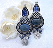 Náušnice - Pod arabskou oblohou /šujtášové náušnice s lapis lazuli/ - 10592583_