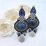 Náušnice - Pod arabskou oblohou /šujtášové náušnice s lapis lazuli/ - 10592584_