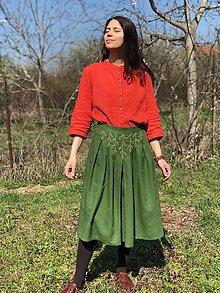 Sukne - Ľanová sukňa ručne vyšívaná - Breza, brezička - 10594160_