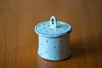 Nádoby - Usmej sa na mňa: Keramická dóza s vrchnákom (Modrá) - 10593199_