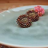 Copper hearts - vyšívané náušnice