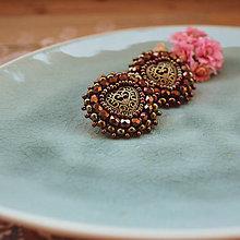 Náušnice - Copper hearts - vyšívané náušnice - 10591948_