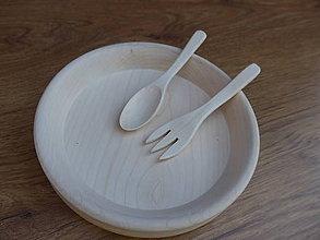 Pomôcky - Drevený detský riad, javor - sada - 10592555_
