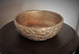 Nádoby - miska s imitáciou zlata a betónu - 10592038_