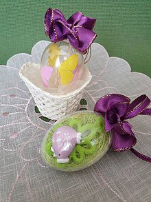 Dekorácie - Veľkonočné vajíčko (s kuriatkom) - 10592948_